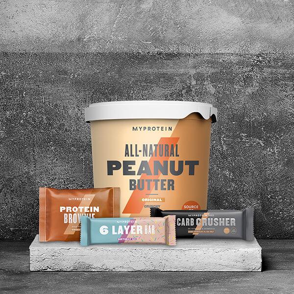 Crema de cacahuete y barritas de proteína