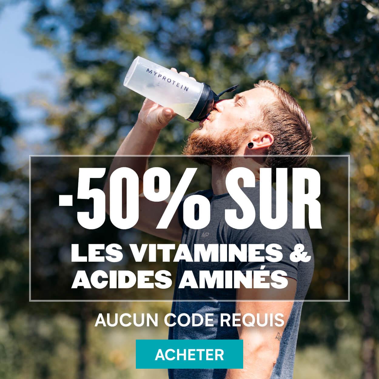 50% sur les vitamines et acides aminés