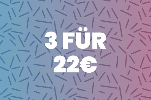 3 für 22€ werden Sie bestimmt das richtige Geschenk finden und jemanden besonders glücklich machen.