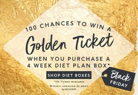 100 chances to win a Golden Ticket when you purchase a 4 week diet plan box