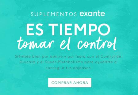 Los suplementos exante Time to Take control se sienten bien por dentro y por fuera con el Control de Glucosa y el Súper Metabolismo para ayudarte a conseguir tus objetivos 'Comprar Ahora'.