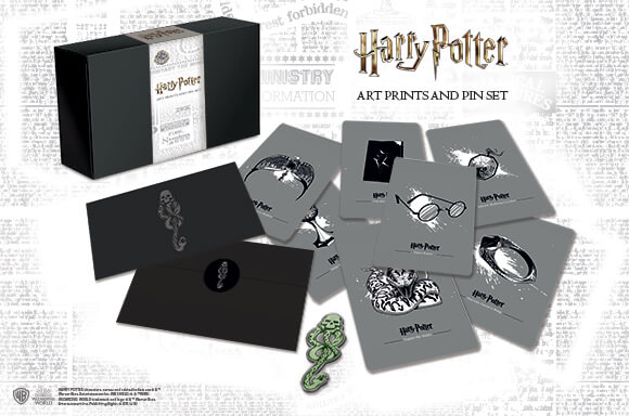 HARRY POTTER DARK ARTS<BR> PIN BADGE & ART CARDS SET