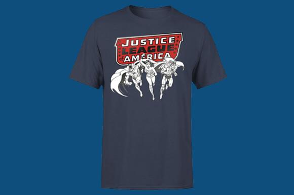 JUSTICE LEAGUE <br>METALLIC BLACK INK T-SHIRT