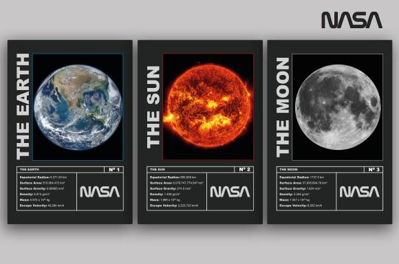 PÓSTERES NASA MISIONES<BR>EARTH, SUN & MOON