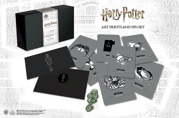 HARRY POTTER DARK ARTS<BR> PIN BADGE & ART CARDS SET