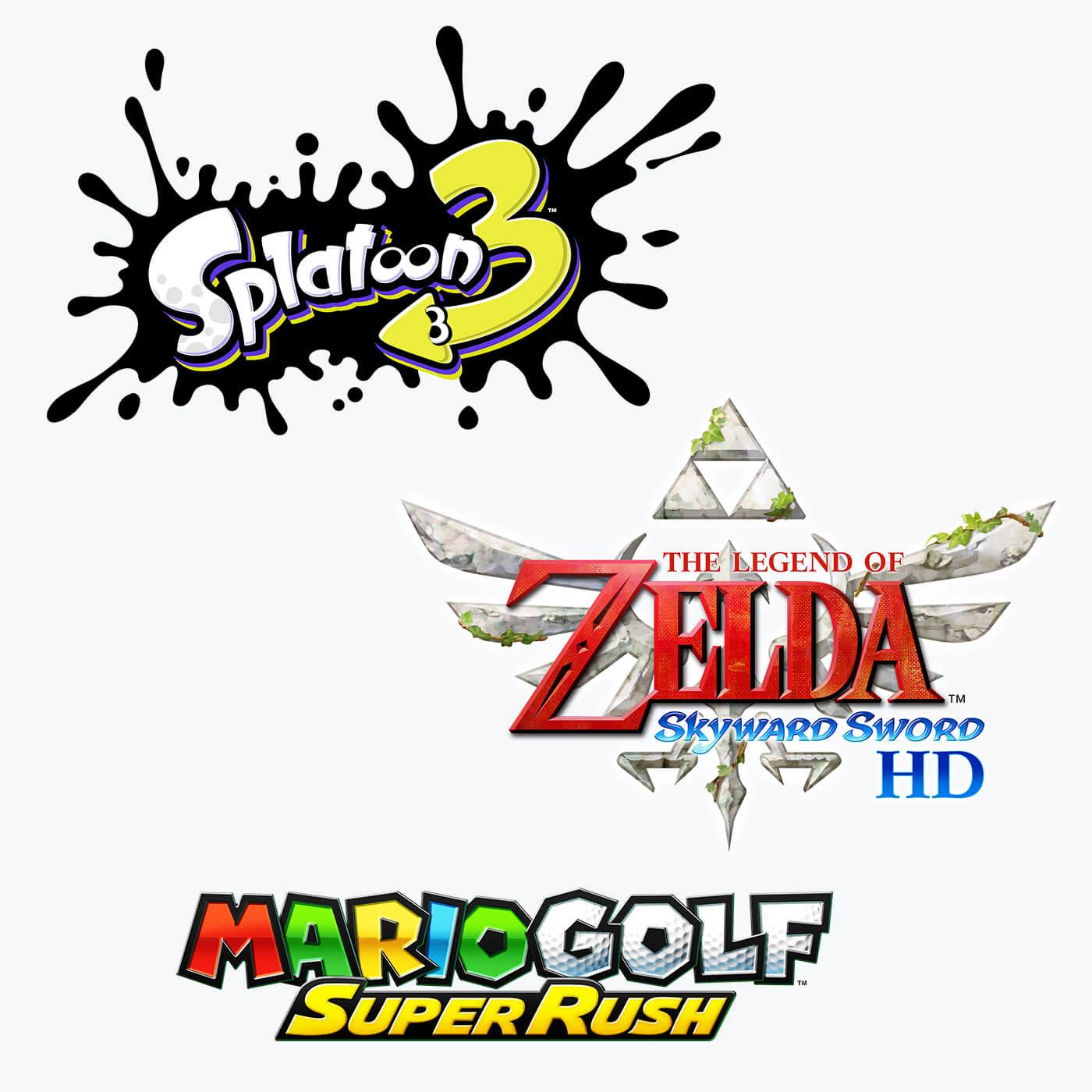 Splatoon 3  |  The Legend of Zelda: Skyward Sword HD  |  Mario Golf: Super Rush