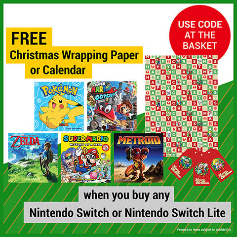 FREE Christmas Wrapping Paper or Calendar when you buy any Nintendo Switch or Nintendo Switch Lite console